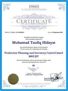 Contoh tampilan sertifikat eTraining